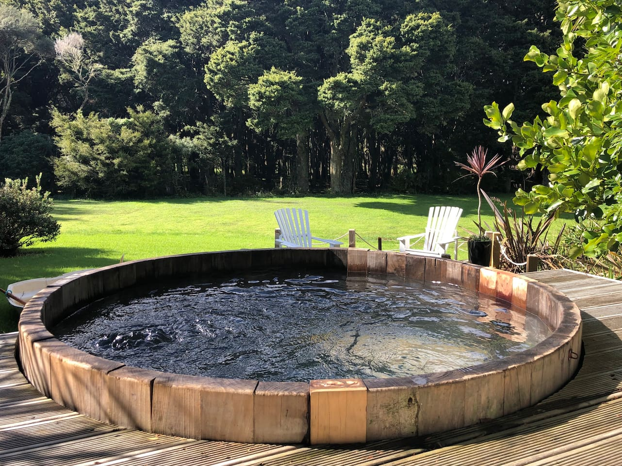 Relax in the private hot tub, which is especially amazing at night under the stars.