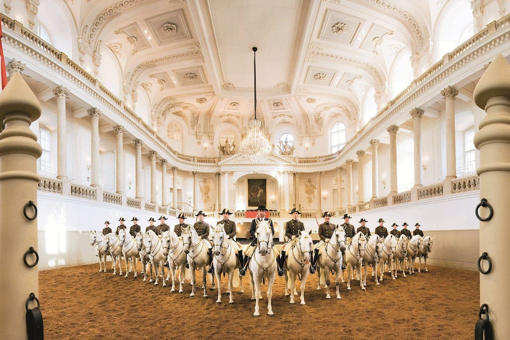 The Spanish Riding School is a traditional riding school for Lipizzan horses that offers public performances in the Winter Riding School in the Hofburg. The Riding School calls these performances classical dressage, but most viewers would call it magic. The school has been training horses like this for more than four centuries.
