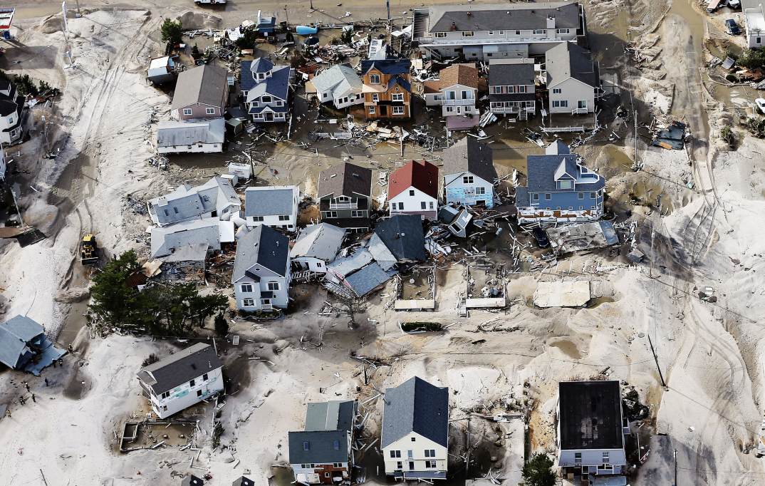 An aerial view of houses damaged after Hurricane Sandy