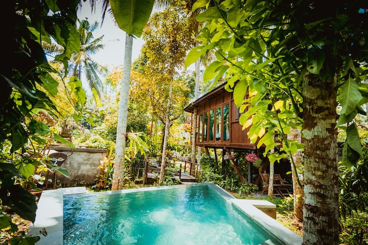 Peaceful treehouse near yogabarn with private pool