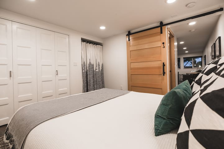 Opt for bedroom privacy with a soft touch barn door.