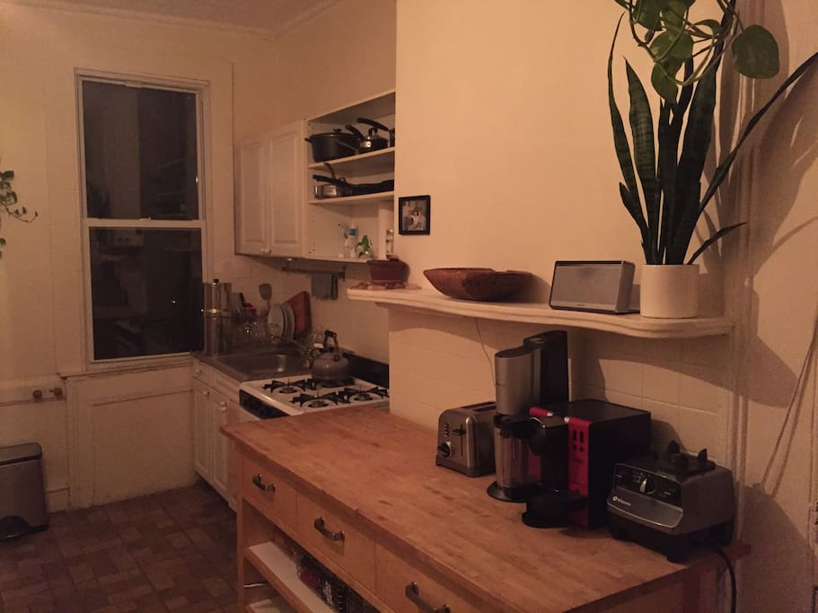 Kitchen at night, super bright in the daylight.