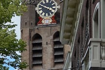 The Oude Kerk (Old Church) on the Oude Delft. Unlike the tower itself, the turrets of the tower are loyal to the vertical