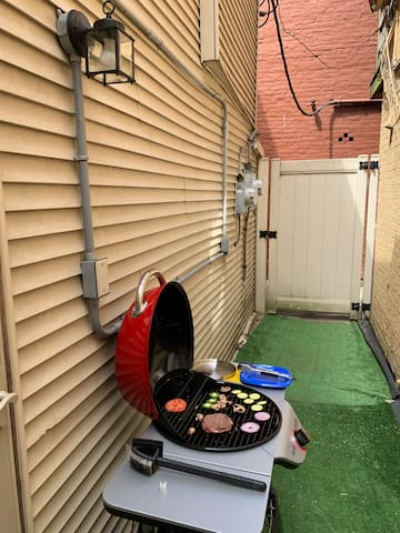Grill out in your private alley with the provided electric grill.