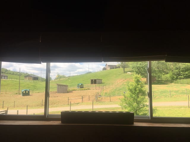View of pastures from living room and bedroom area