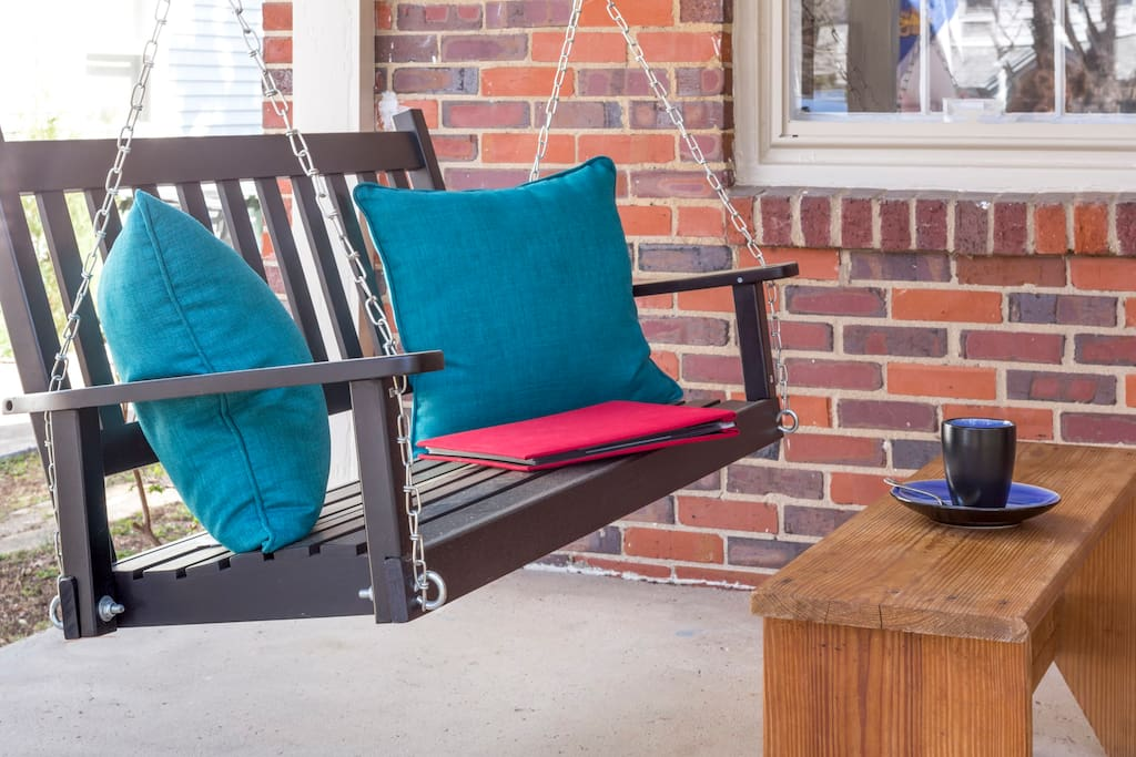Relax on the front porch swing with a drink.