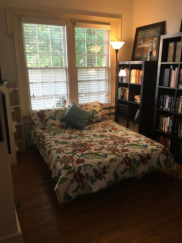 Third bedroom with comfy 9 inch mattress on a full sized convertible bed and adjoining full bath.  The door has been removed, but a screen is available for privacy.