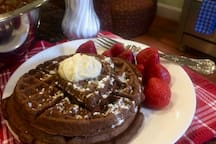 One of the kinds of breakfasts served to our guests. Chocolate waffles and Strawberries! Mmmmm