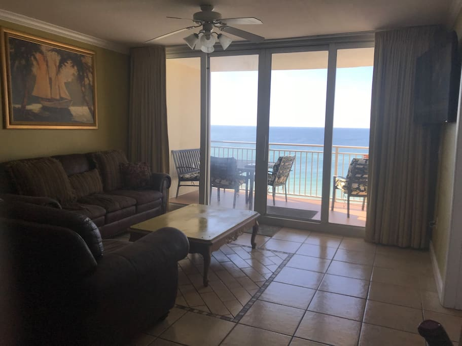 Direct Beachfront view with 60 inch HD TV.