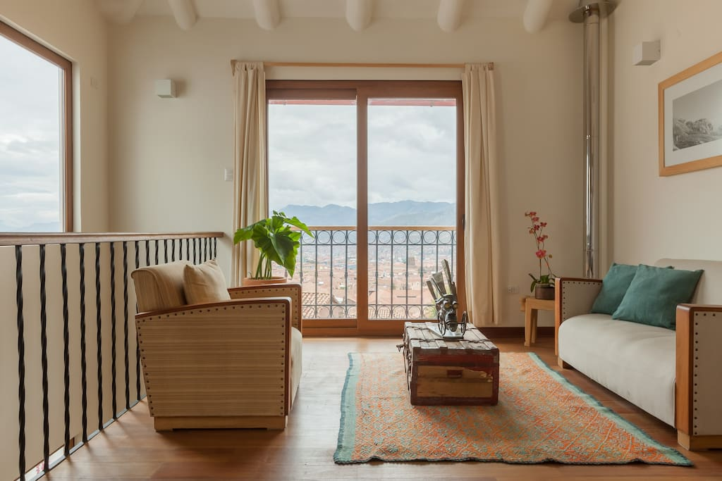 Second floor living room with balcony