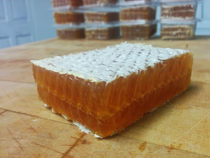 a piece of heather honey cut comb