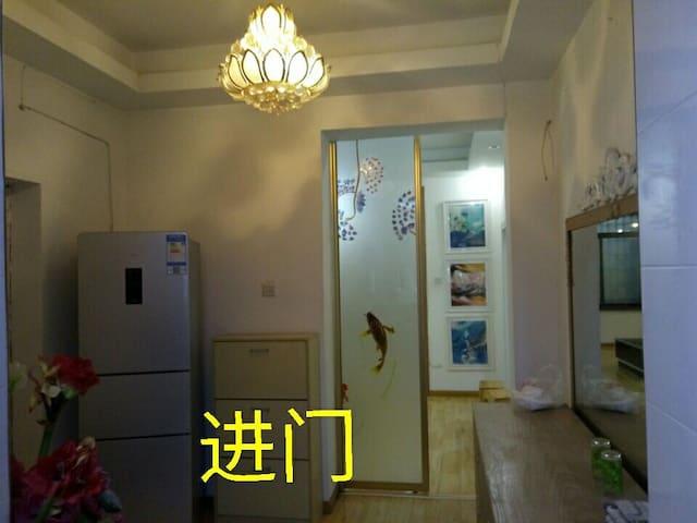 进门玄关,莲花吊灯水晶莹剔透,专用冰箱24供你用。