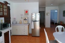 Kitchen and hallway. Potable water is provided free of charge. Inverter type refrigerator/freezer which makes it almost silent.
