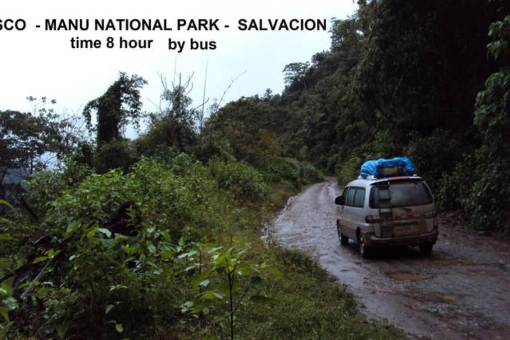 El punto de partida es en la ciudad de Cusco, el viaje tiene una duración de 8 horas hasta la población de Salvación Manu, donde se encuentra el Amazon Home.