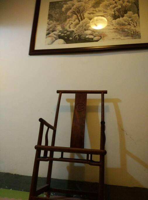 红木桌椅,水墨画