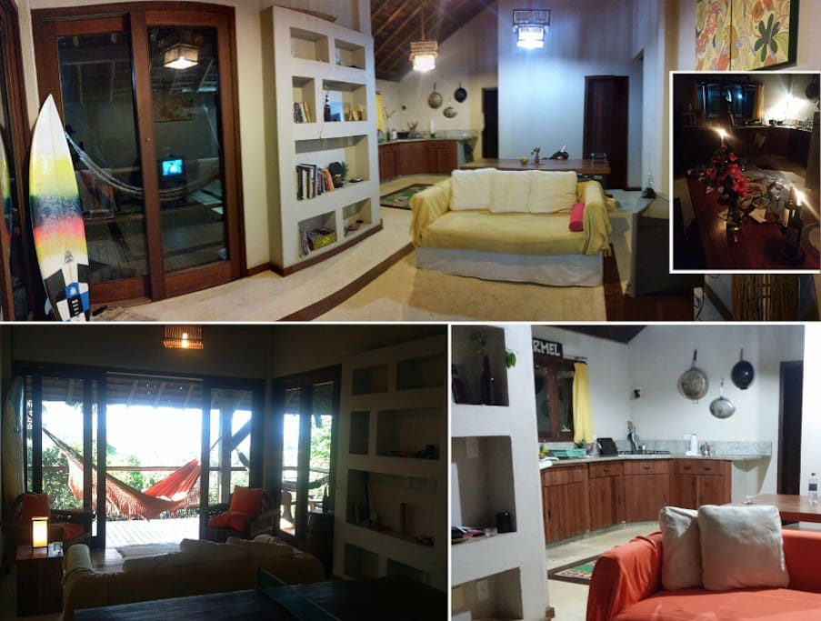 Sala / Cozinha completa e aconchegante. #casacarmelitacare