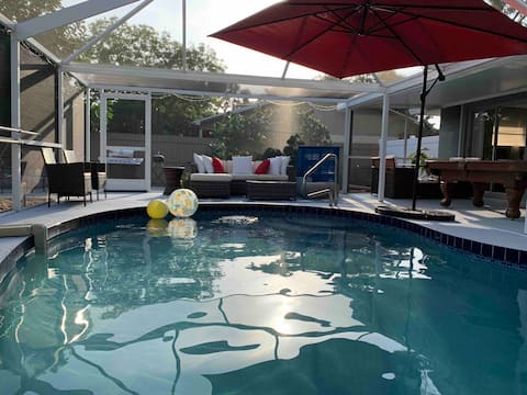 Getaway Relax Home/Beaches 5-10minutes/Heated Pool