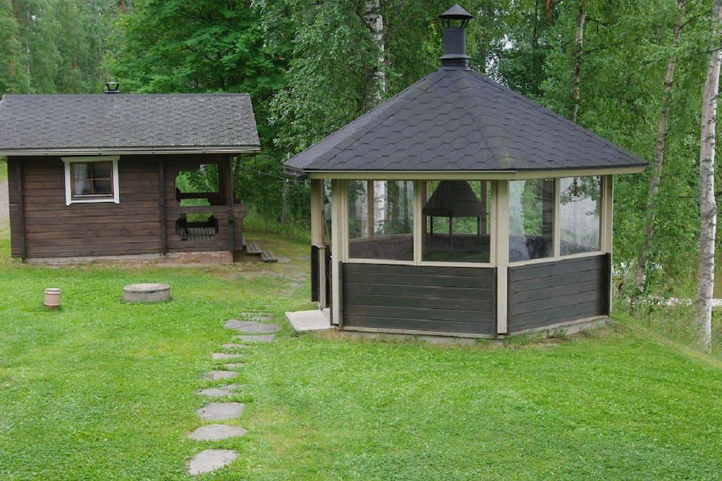 A BBQ house and a summer sauna