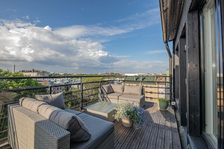 Luxury penthouse with terrace sauna and great view