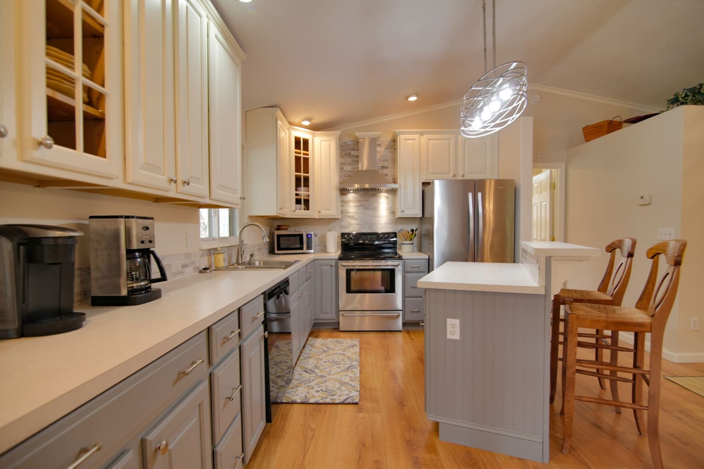 Fully Equipped kitchen in lovely Cottage Walk on Bald Mountain Lake at Rumbling Bald Resort