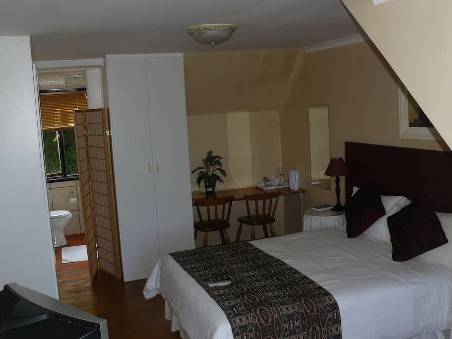 Lagoon Lodge room 2 with double bed & en-suite bathroom with shower