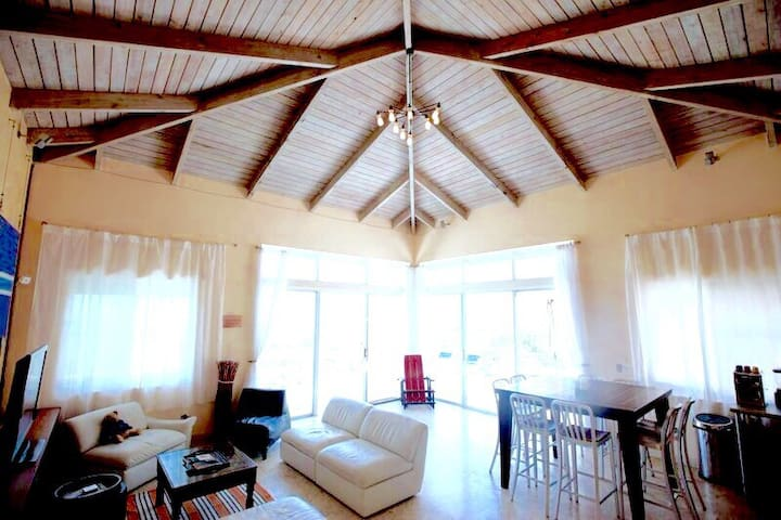 Grand room on parlor floor lever. 18 feet high ceilings, Italian leather arm chairs, imported original furniture, authentic pairings and immense terraces with extraordinary ocean views