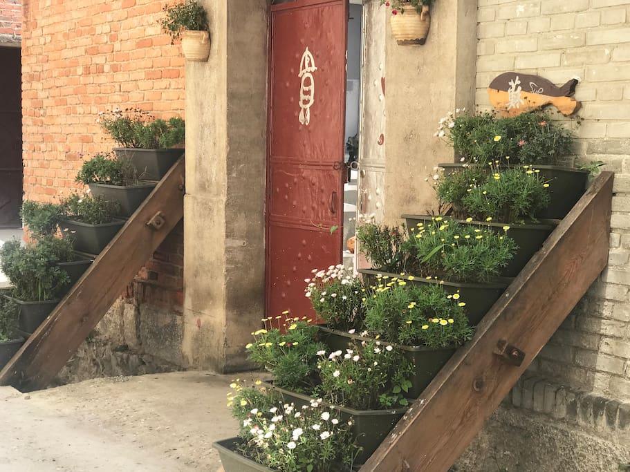 若魚小院的大门:兩侧是老楼梯做成的花架,常年鮮花盛开。