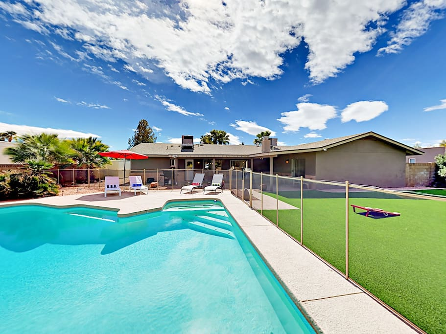 Soak up the sun in a lounger while the kids splash in the heated pool.