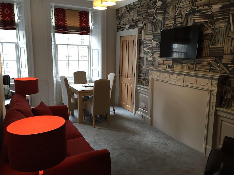 Living Room with views onto Royal Mile