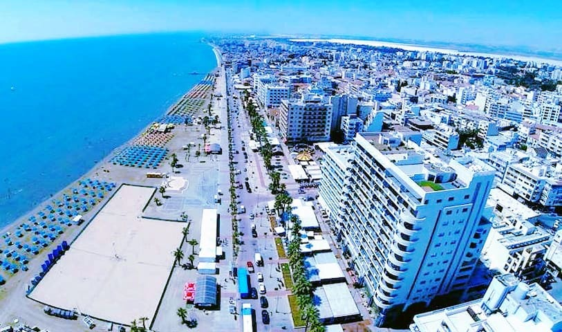 Larnaca is just a confortable 15 minute bus drive from the apartment (bus stop right outside the hotels)