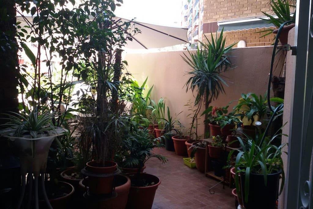 En la terraza también hay una parte cubierta con un sillón, por si llueve y se quiere fumar...