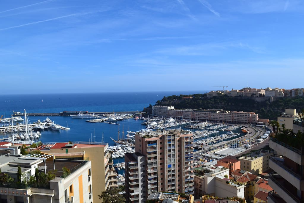 View from living room: Monaco harbor. Formula 1 Grd Prix. Monaco Yacht Show.