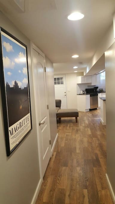 Hallway leading to the backyard and kitchen