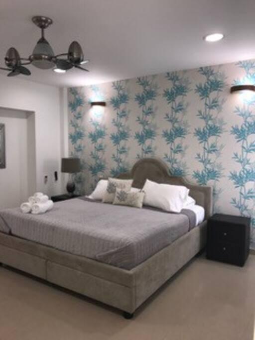 TURQUESA, Comfortable habitación  con cama king size, baño privado, tv,  aire acondicionado, abanico, nevera bar,  vestier.