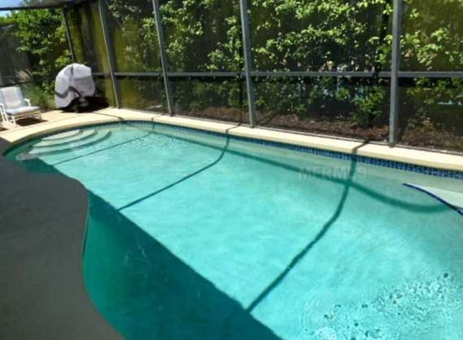 Private pool with outdoor dining table and gas grill, pool chairs and pool floats