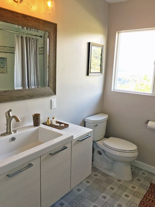 Remodeled in 2016, this private guest bathroom is equipped with travel-sized toiletries and a clothes dryer for our guests who prefer to travel light.