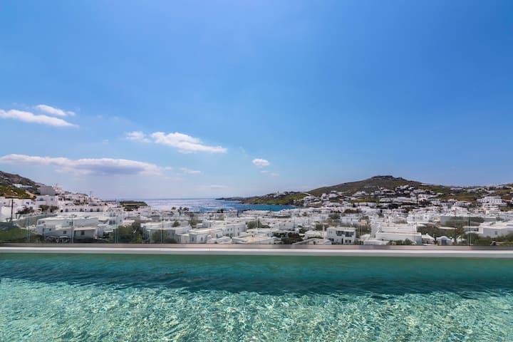 Private Pool & Sea Views Near Mykonos Town & Beach