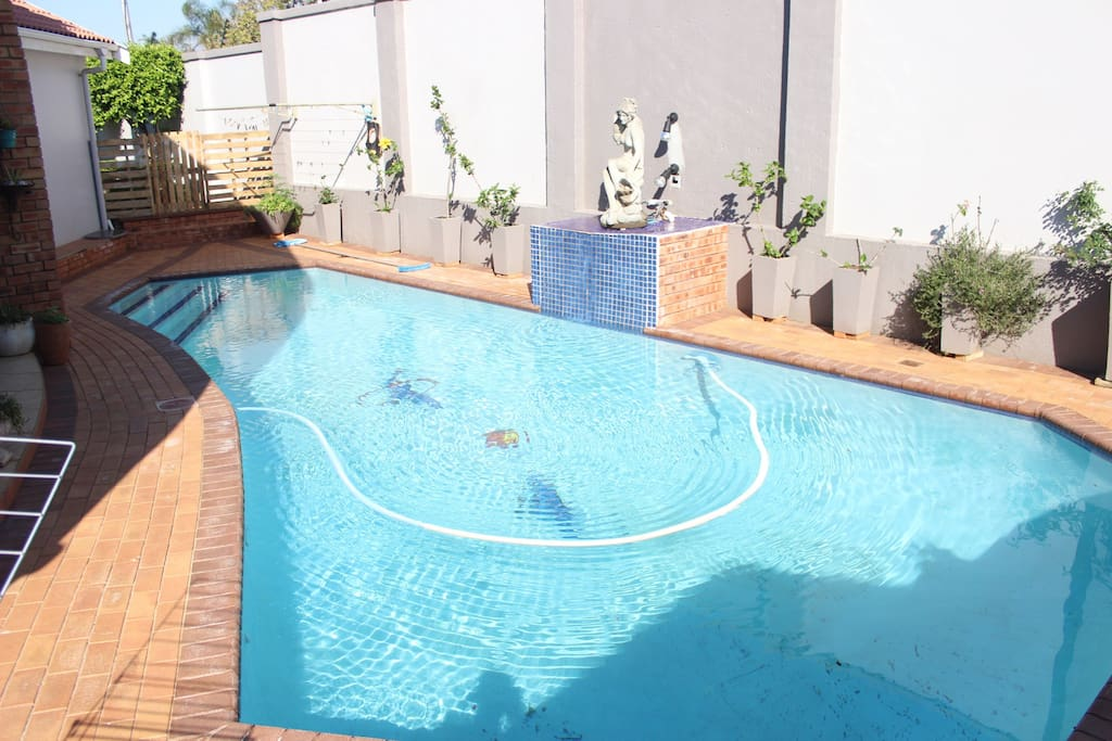 Crystal clear pool; perfect for those sunny days in Durban. Also great for a few laps. Also entertainment patio for traditional South Africa braais/dinners.