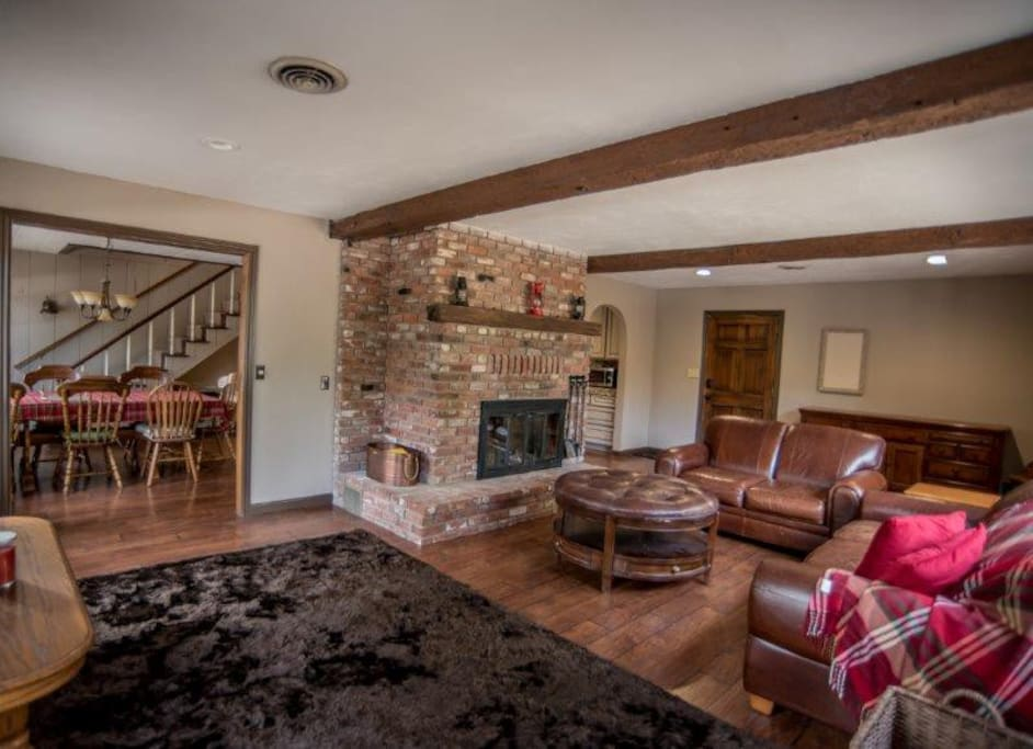 living room and brick fireplace