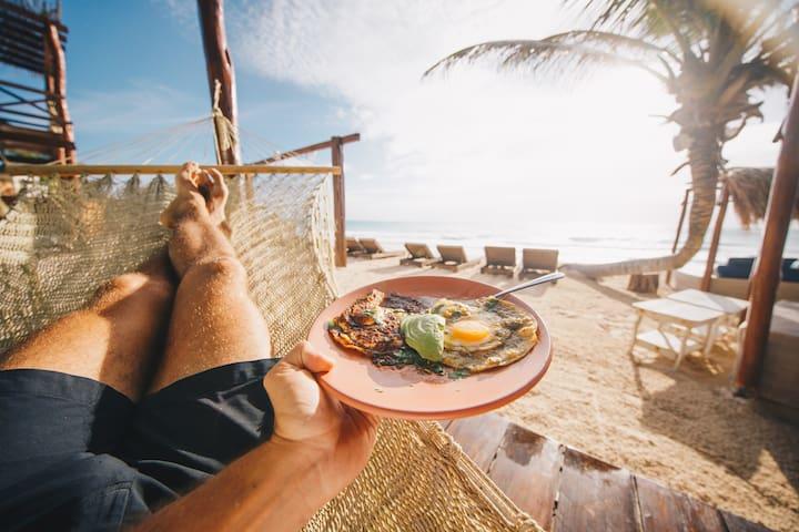 Oceanfront suite at Hotelito Azul Tulum