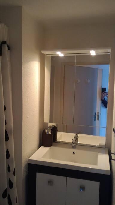 Salle de douche séparée des toilettes