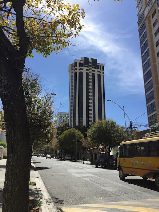 Building from Av. Arce