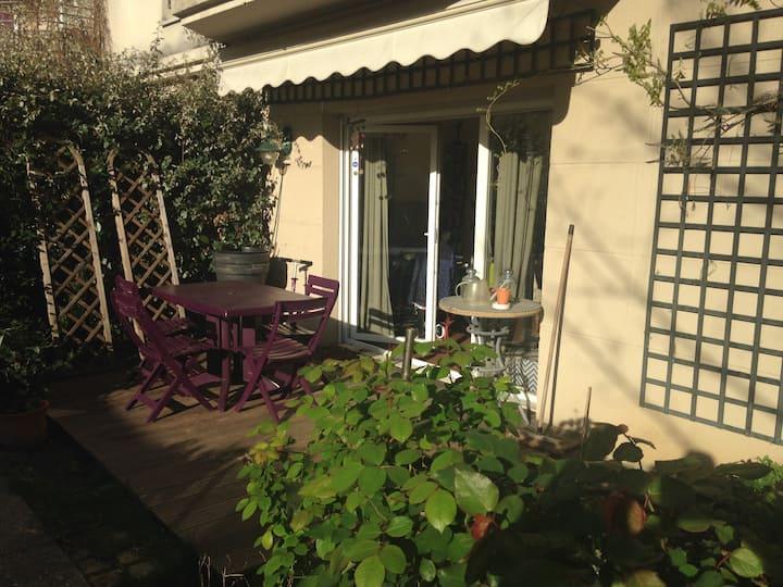 Appartement 3 chambres & 2 jardins, à 15' de Paris