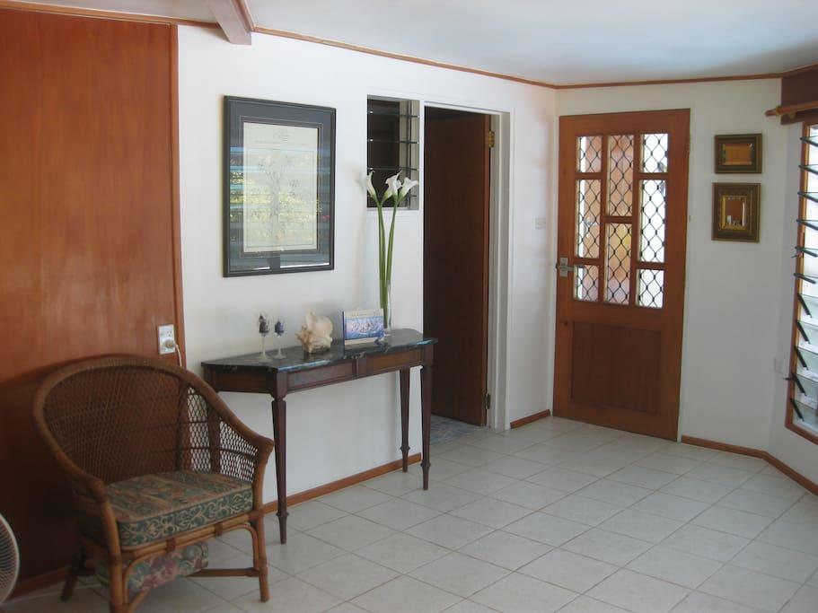 Back door in living room