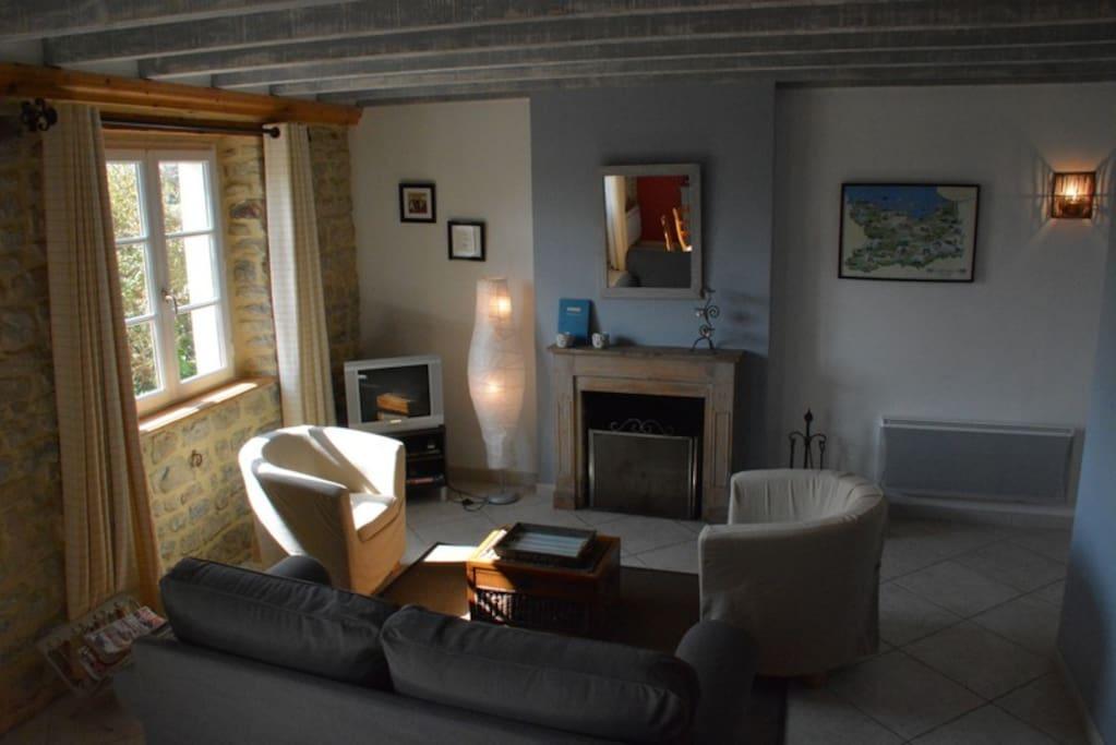 Coin salon avec cheminée l'Etable