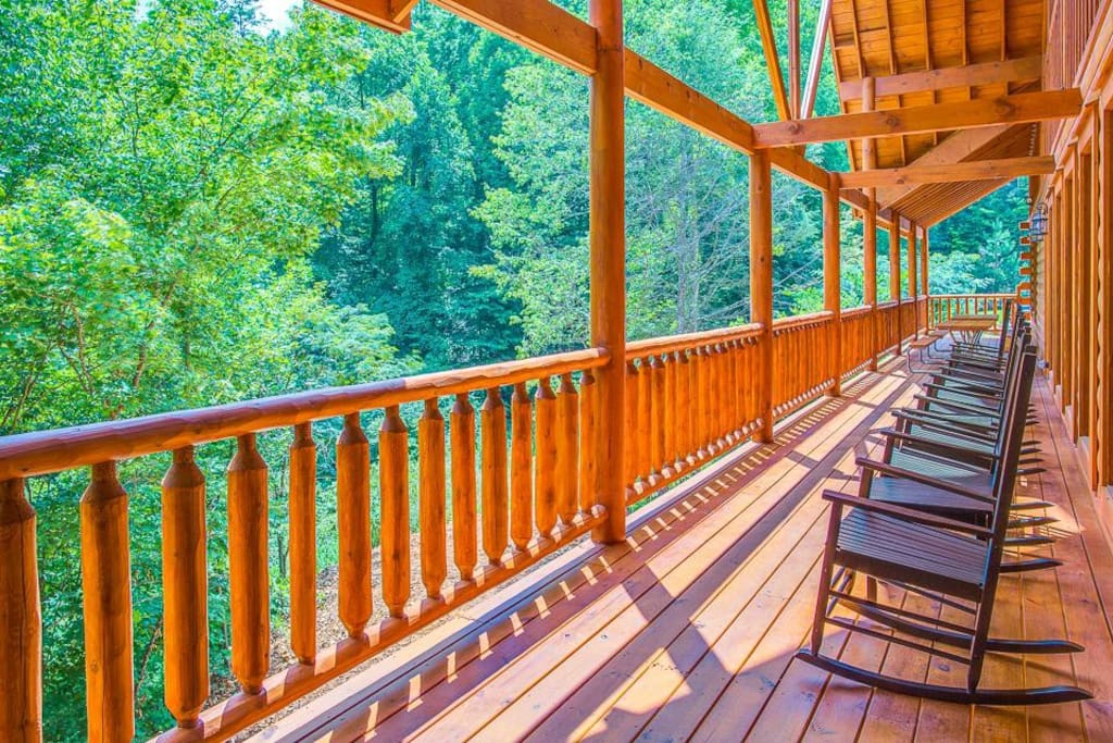 Hit the decks - Sherwood Splash Lodge has nearly 3,000 square feet of decks furnished with 2 hot tubs, plenty of rockers, and din
