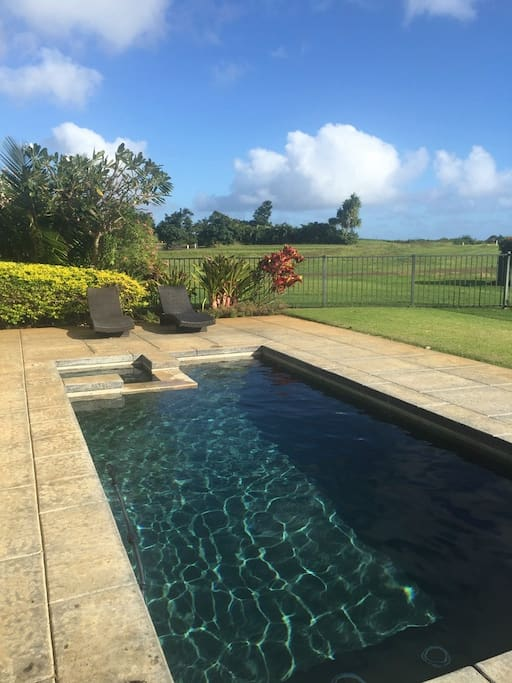 Hale Nene Poipu:  private salt water pool and spa with sweeping views of the sunrise/set, horizon-ocean, mountains and golf.
