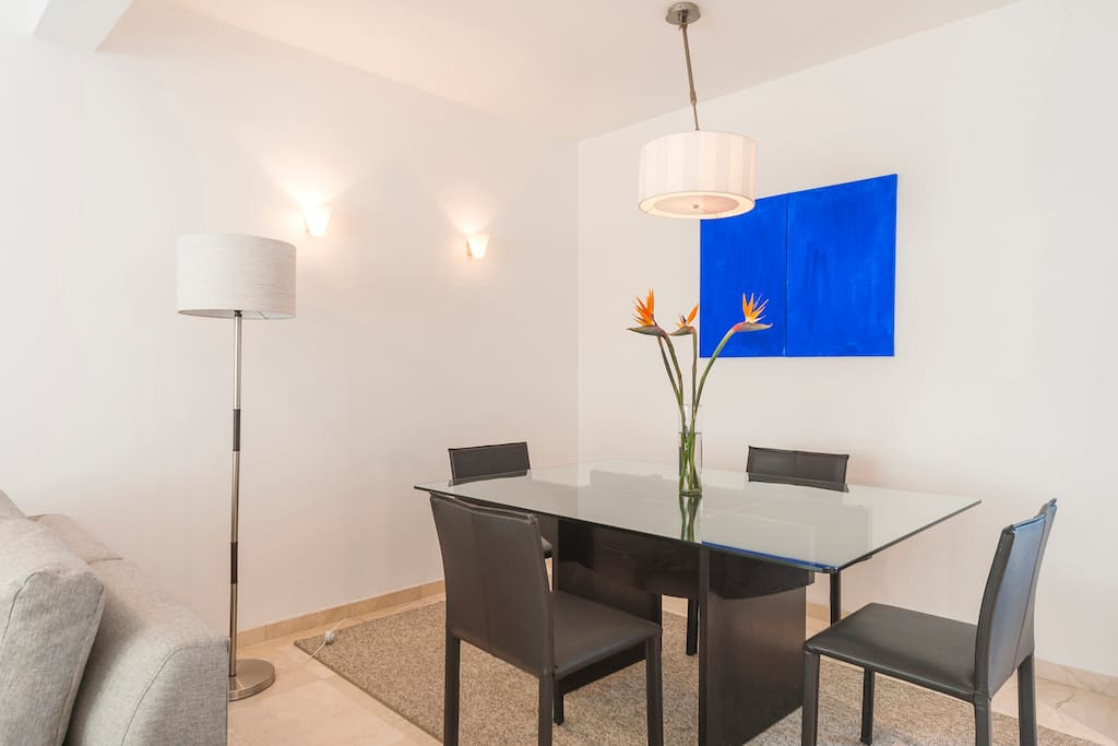 Spacious dining area for four.