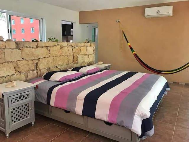 Amplio espacio, ventilado e iluminado naturalmente, cómodo, con mosquiteros, con TV, WIFI, comunicada con el baño, cocina, clóseth- área de trabajo, terraza y patio lateral.