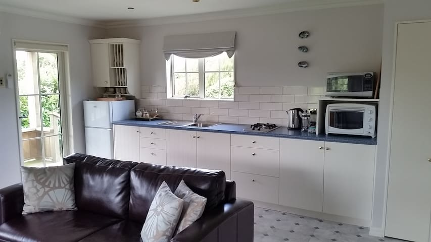 Kitchen - fully self contained with gas hobs, microwave and convention oven